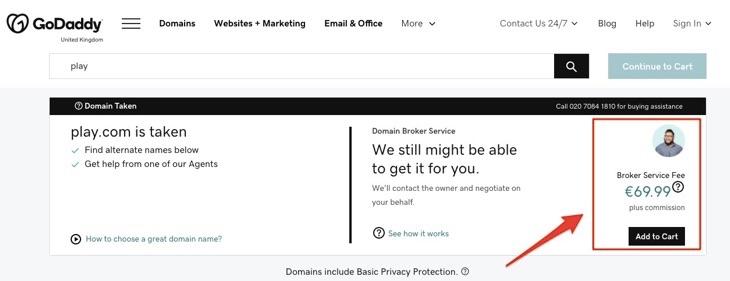 GoDaddy domain name negotiators