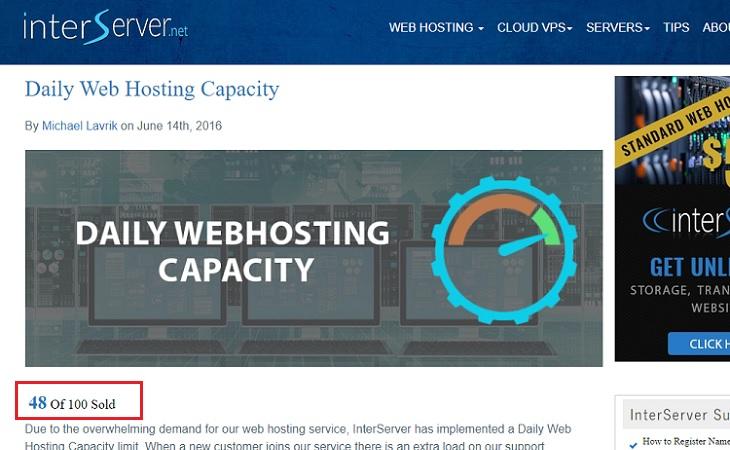 Daily web hosting capacity