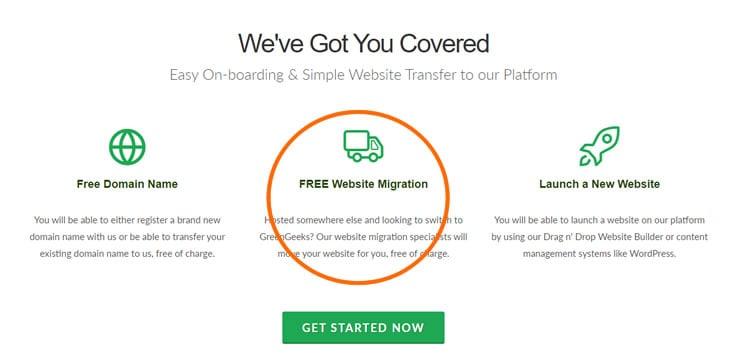 Greengeeks migration service
