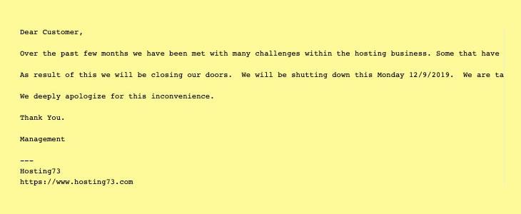 shutdown message from hosting73