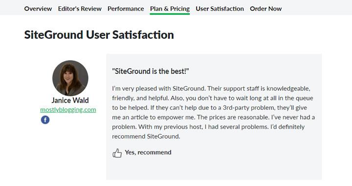 Example - SiteGround User Feedback