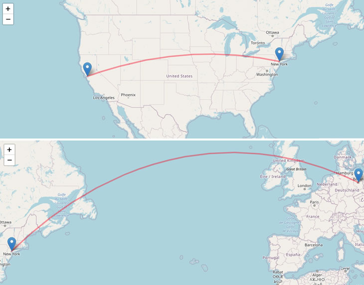 Why latency affect your hosting choice? Demo - New York to Berlin = 3,965 miles; San Francisco to New York = 2,572 miles.